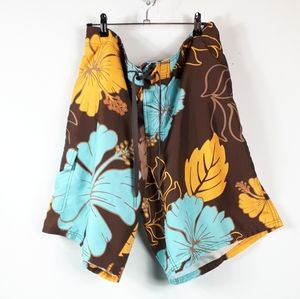Front Tie Pocket Swim Trunk Shorts